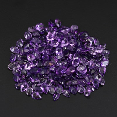 Loose 117.88 CTW Pear Faceted Amethyst