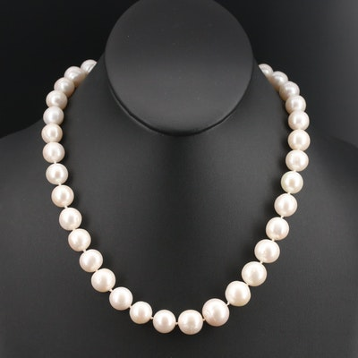 Pearl Necklace with 14K Clasp and Diamond Accent, 10.60 mm - 13.35 mm