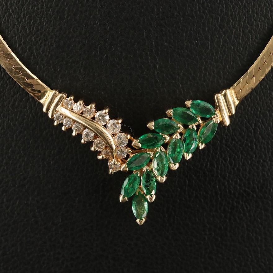Italian 14K Emerald and Diamond Stationary Necklace