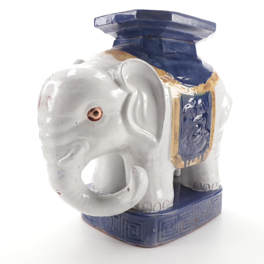 Chinese Style Elephant Form Glazed Ceramic Garden Stool