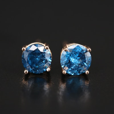 14K Rose Gold 1.30 CTW Blue Diamond Stud Earrings