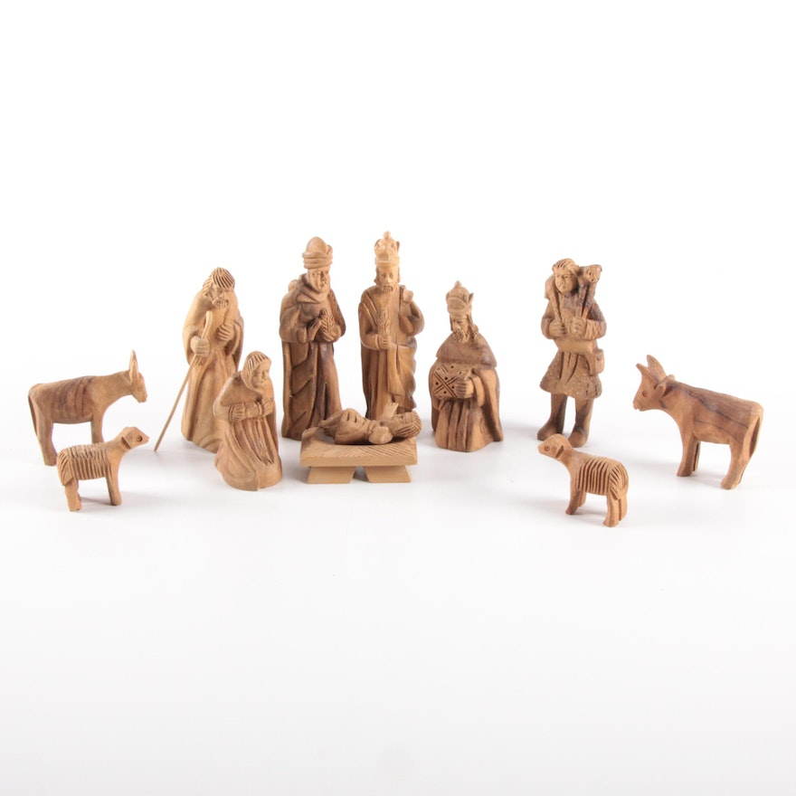 Hard-Carved Wooden Nativity Figurines, Late 20th Century
