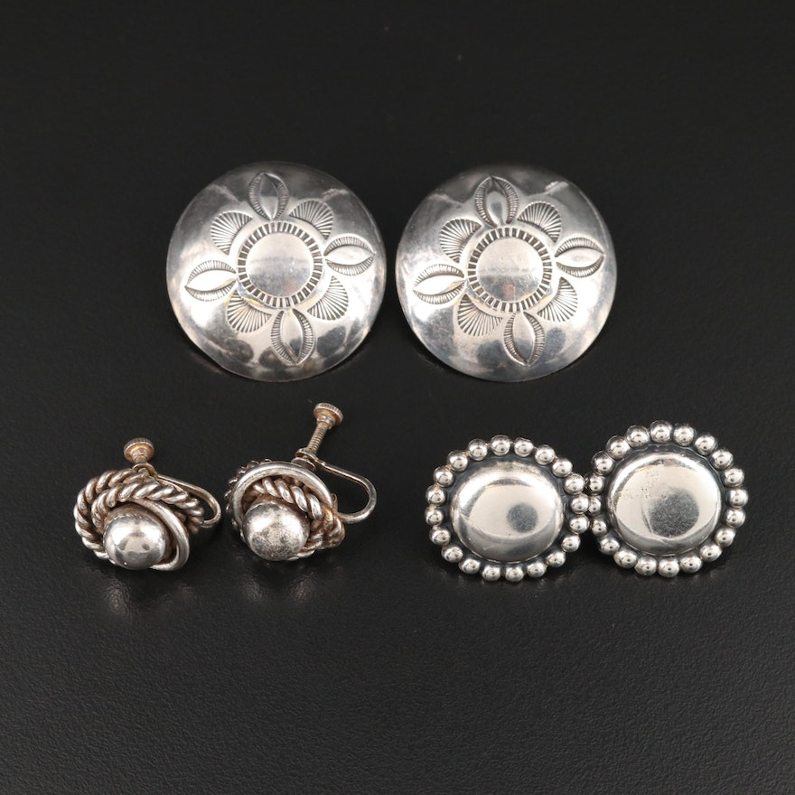 Sterling Screw Back and Clip Earrings Including Stampwork Button Earrings