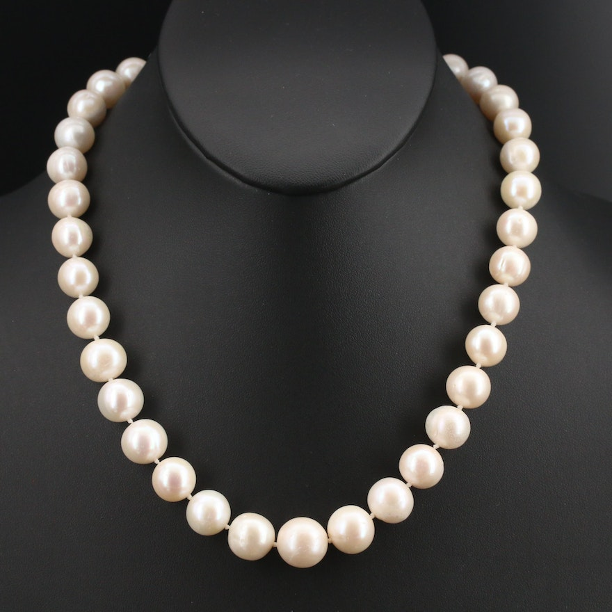Pearl Necklace 10.24 mm - 12.94 mm with 14K Clasp