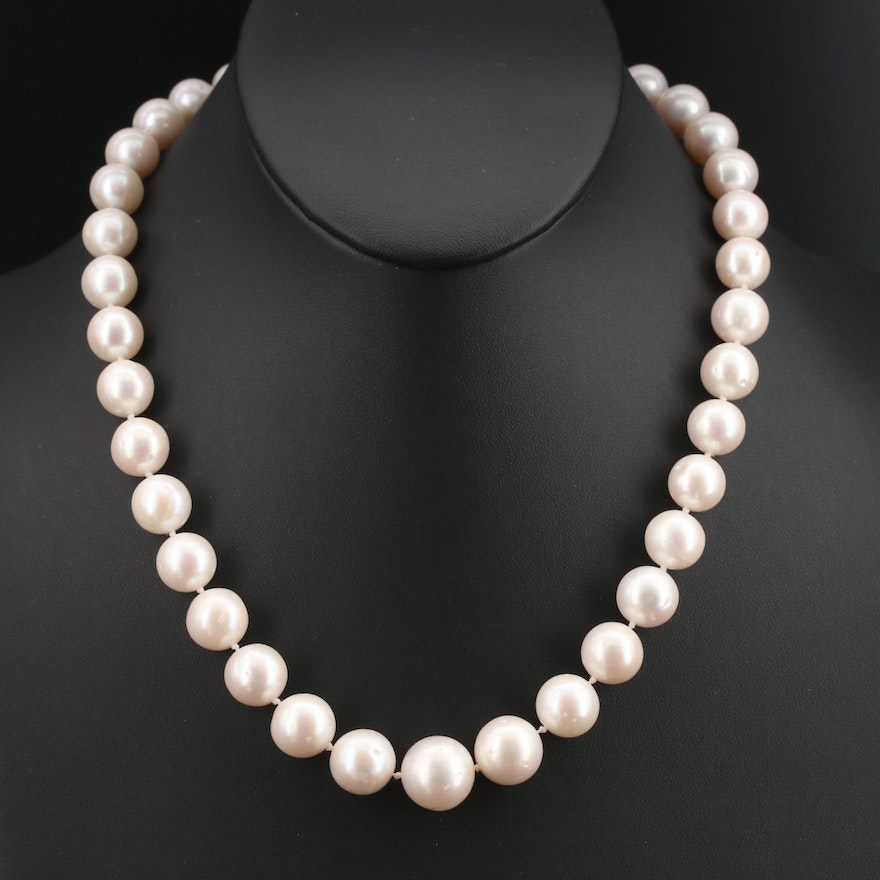 Pearl Necklace with 18K Clasp, 10.80 mm - 13.80 mm