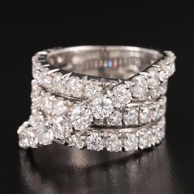 18K 6.46 CTW Diamond Crossover Ring