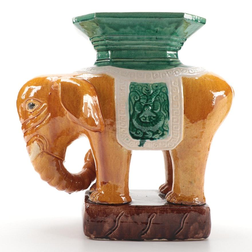 East Asian Sancai Glazed Ceramic Elephant Garden Stool