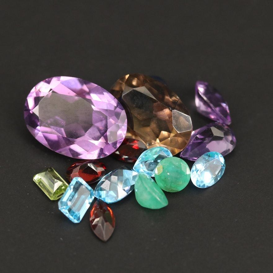 Loose 31.19 CTW Mixed Gemstones Including Amethyst, Topaz and Smoky Quartz