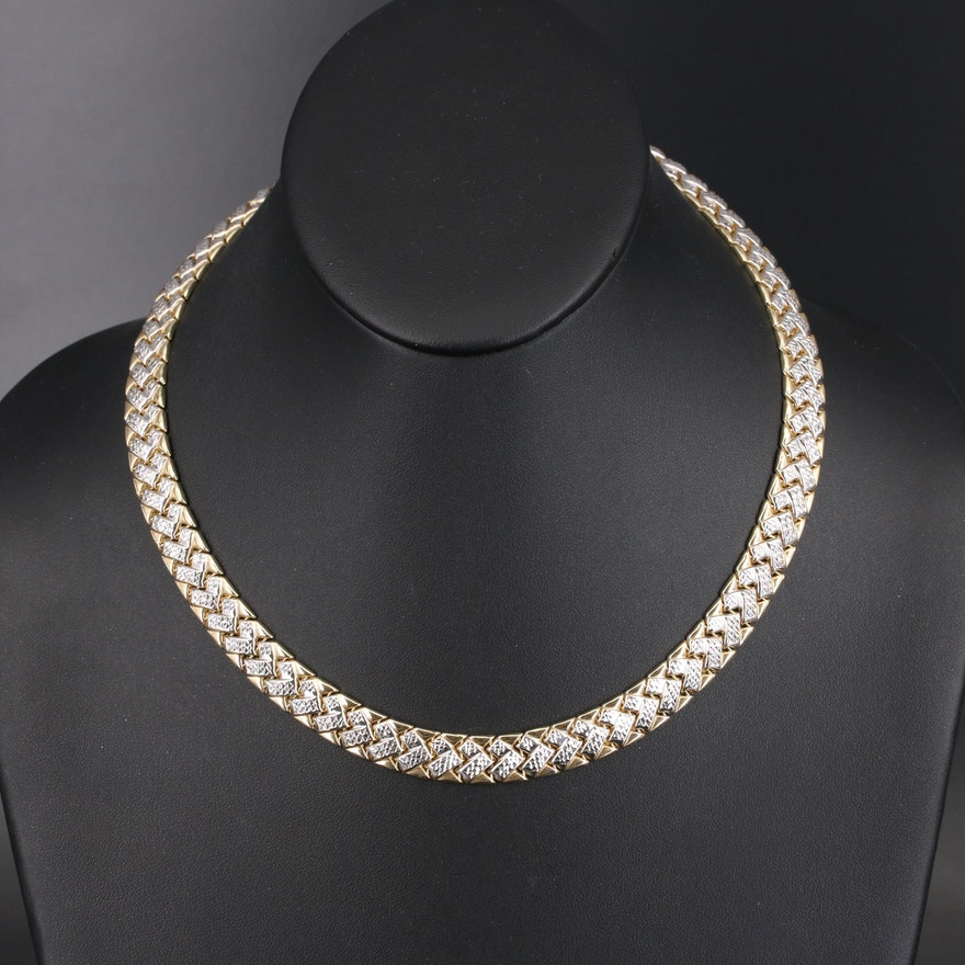 14K Two-Tone Textured Fancy Link Necklace