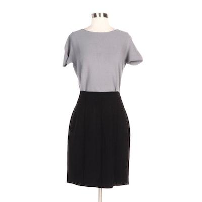 Fendi Black Pencil Skirt and Giorgio Armani Grey Knit Short Sleeve Sweater