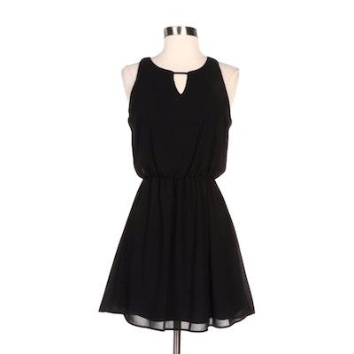 Xhilaration Black Gathered Waist Sleeveless Dress