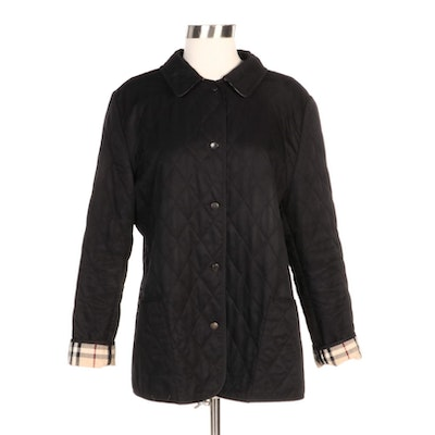 """Burberry Black Quilted Jacket with """"House Check"""" Lining"""