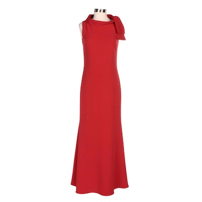 Badgley Mischka Tie Neck Sleeveless Evening Dress in Red Stretch Crepe