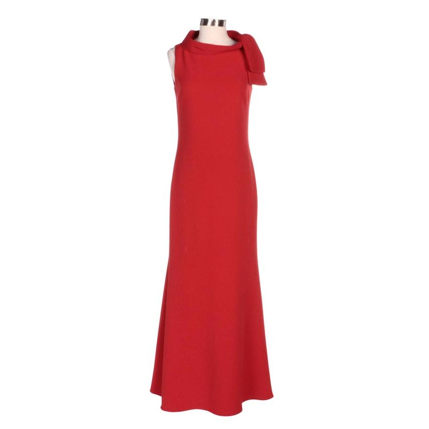 Badgley Mischka Tie Neck Sleeveless Evening Dress in Red Stretch Crepe
