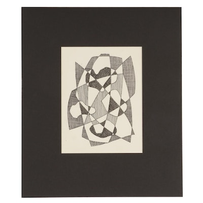 W. Glen Davis Abstract Ink Drawing