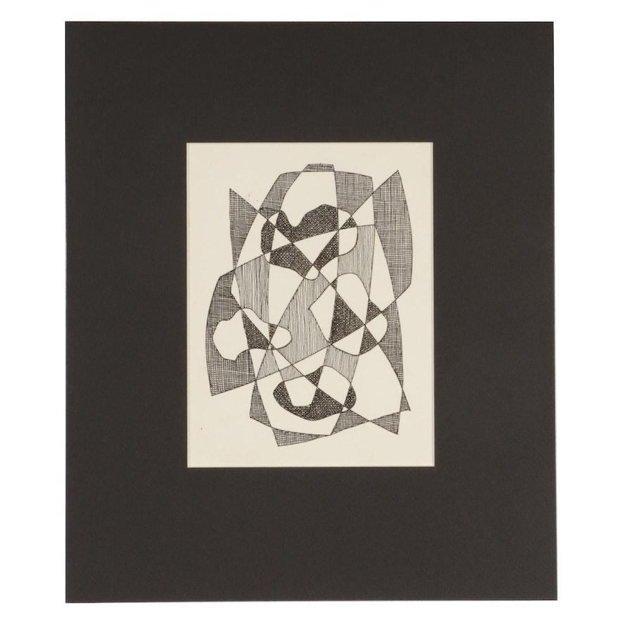 W. Glen Davis Abstract Ink Drawing