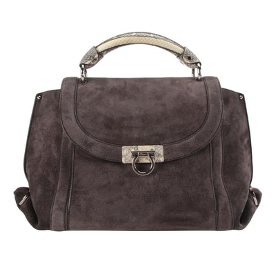 Salvatore Ferragamo Sofia Soft Medium Bag in Suede with Snakeskin Leather Trim