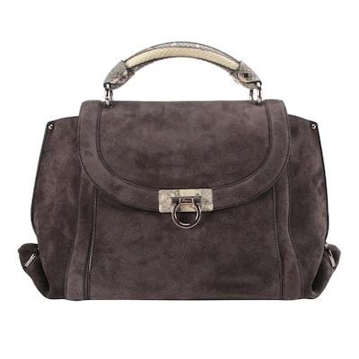 Salvatore Ferragamo Sofia Soft Medium Bag in Suede with Snakeskin Leather Trim