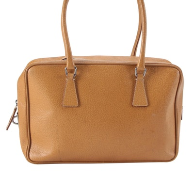 Prada Horizontal Sport Shoulder Bag in Brown Cinghiale Leather