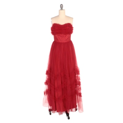 Red Ruffled Mesh Overlay Strapless Occasion Gown