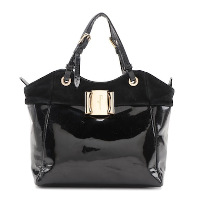 Salvatore Ferragamo Black Patent Leather and Suede Two-Way Bag