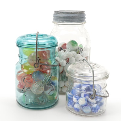 Shooter, Swirl, Opaque, and Other Glass Marbles in Ball Canning Jars