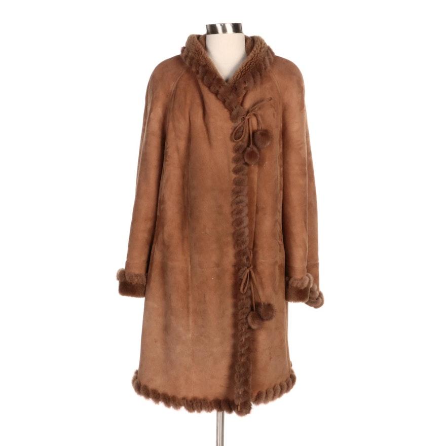 Christia by Hana K Mink Paw Fur Trimmed Shearling Coat with Pom-Poms