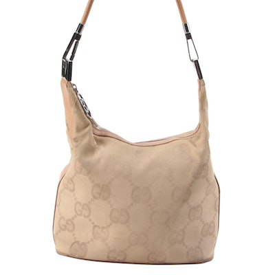 Gucci Beige Hobo Bag in Macro GG Canvas and Leather