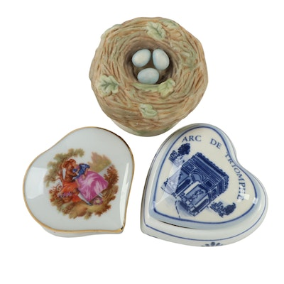 Castel Limoges and Other Porcelain Heart and Bird Nest Decorative Boxes