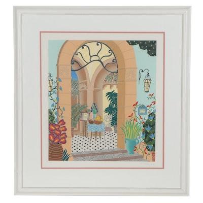 "Thomas McKnight Serigraph ""Villa Rufolo,"" Late 20th Century"