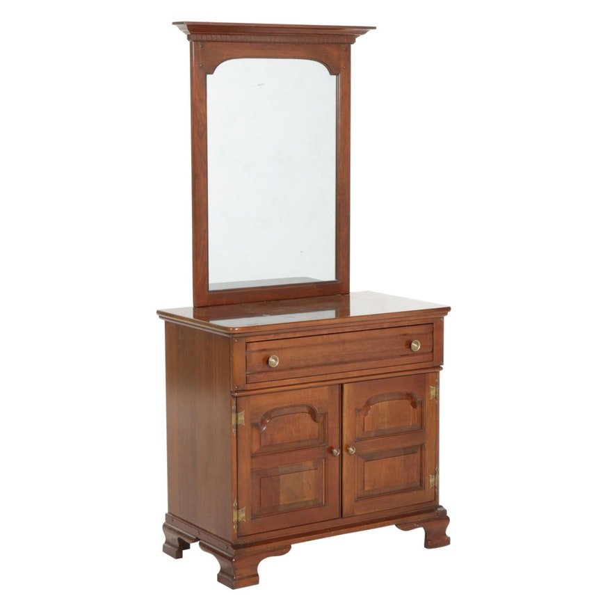 Unique Furniture Makers Cherry Console Cabinet and Mirror