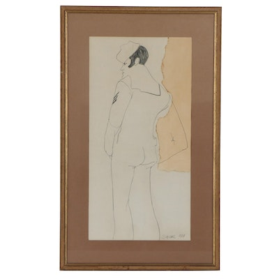 """Suzanne Siminger Graphite Drawing """"Sailor,"""" 1964"""