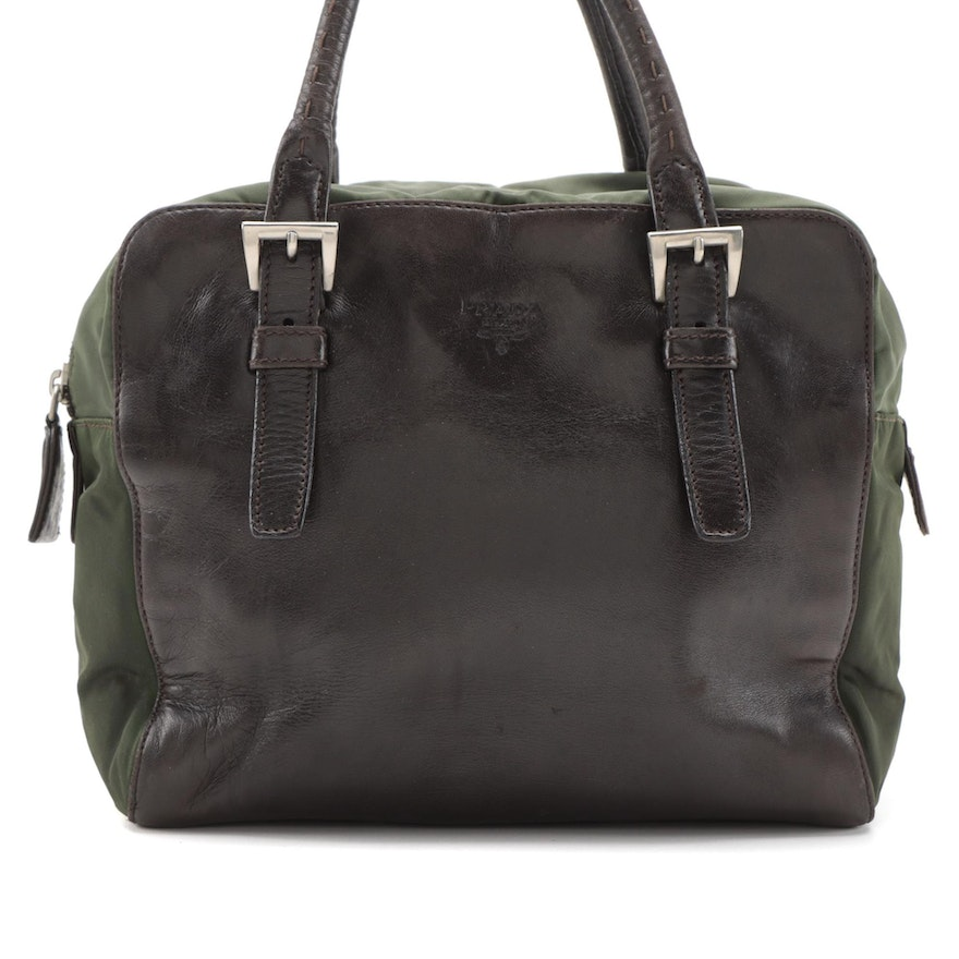 Prada Top Handle Bag in Brown Leather and Green Nylon