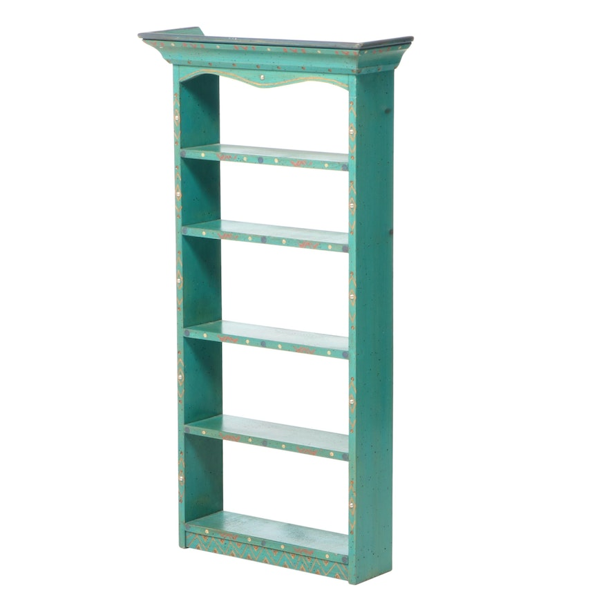 David Marsh Paint-Decorated and Tacked Pine Wall Shelf