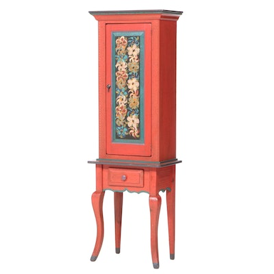David Marsh Paint-Decorated Pine Cabinet-on-Stand, dated 1995
