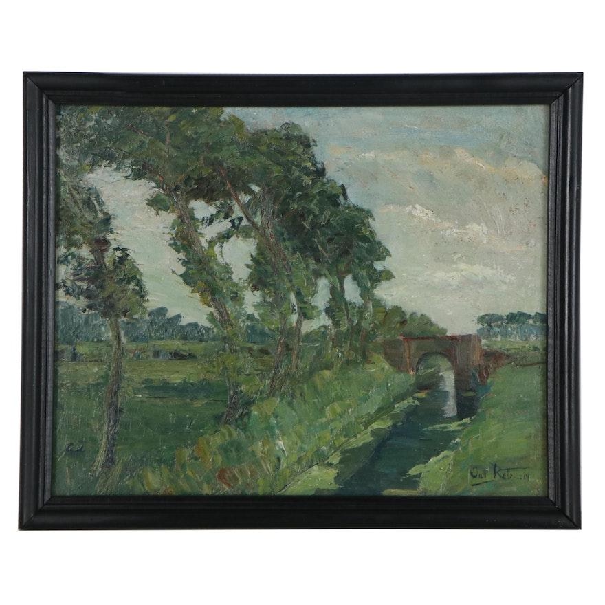 Octave Rotsaert Landscape Oil Painting, Early 20th Century