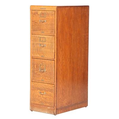Library Bureau Sole Makers Oak Four-Drawer File Cabinet