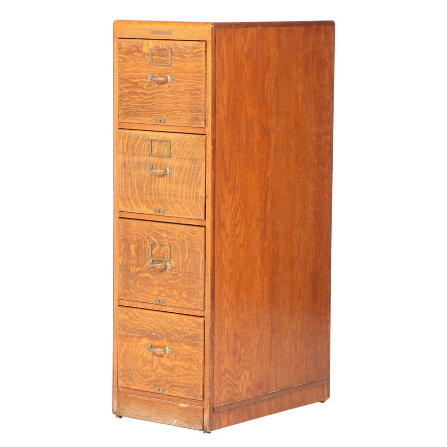 Library Bureau Sole Makers Oak Four-Drawer File Cabinet