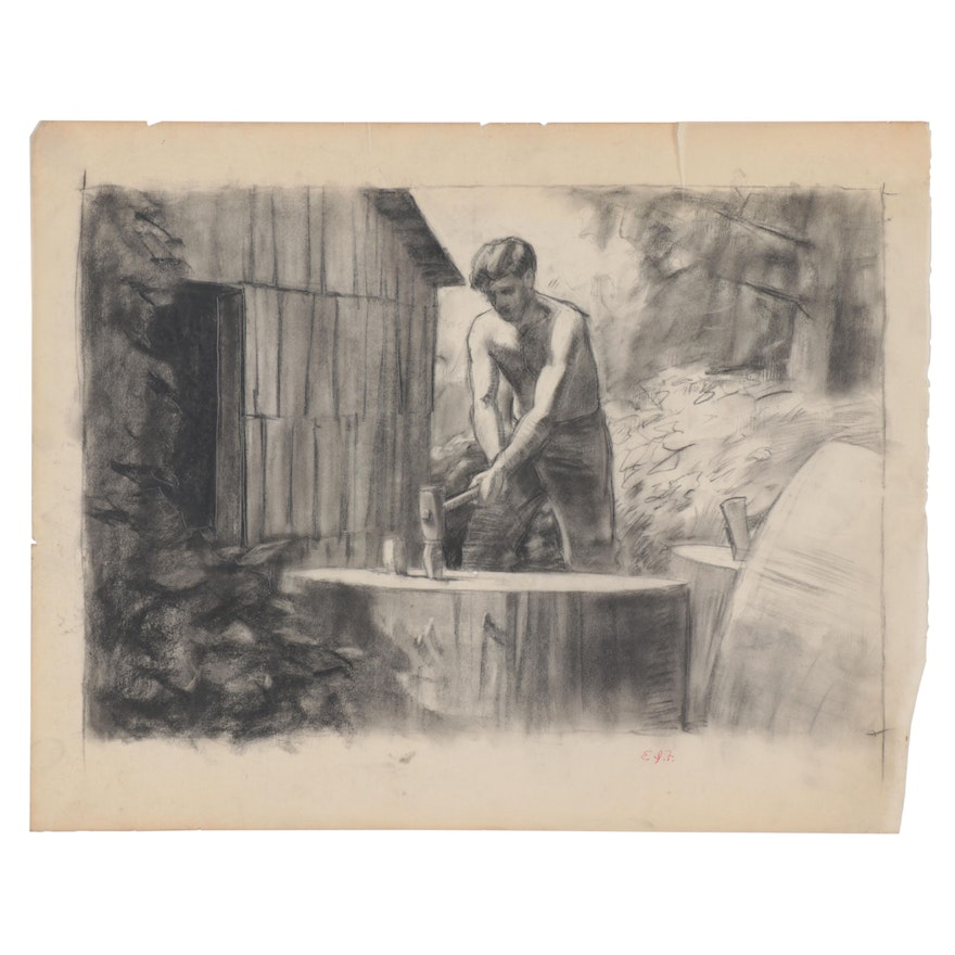 Edmond James Fitzgerald Charcoal Drawing of Laboring Man, Mid-20th Century