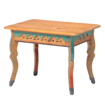 David Marsh Painted, Tacked, and Marble-Decorated Pine Side Table, dated 1997