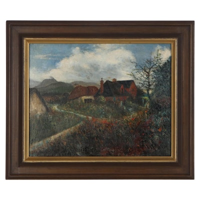 Landscape Oil Painting with Cottages, Early to Mid-20th Century