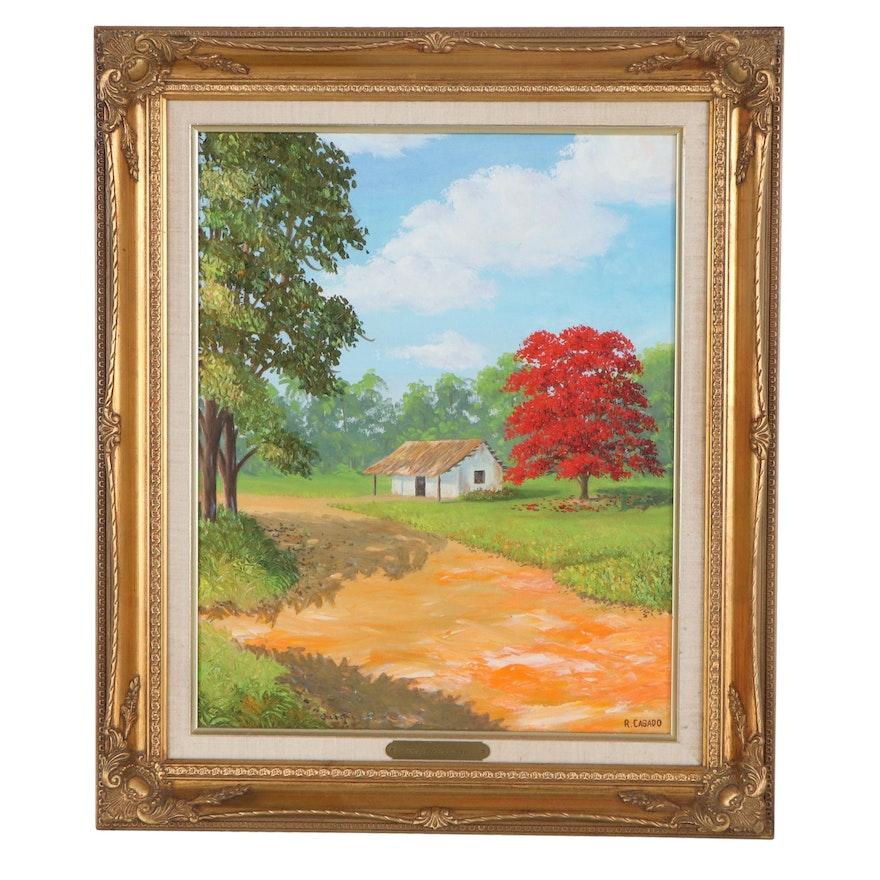 Rafael Casado Landscape Oil Painting, Late 20th Century