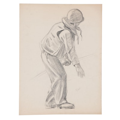 Edmond James Fitzgerald Figural Charcoal Drawing, Mid-20th Century