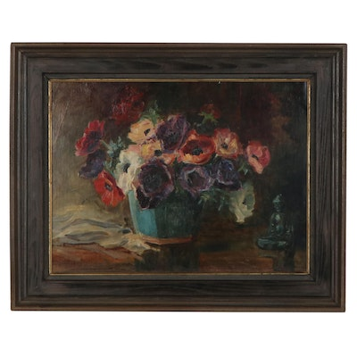 Floral Still Life Oil Painting, Early to Mid 20th Century