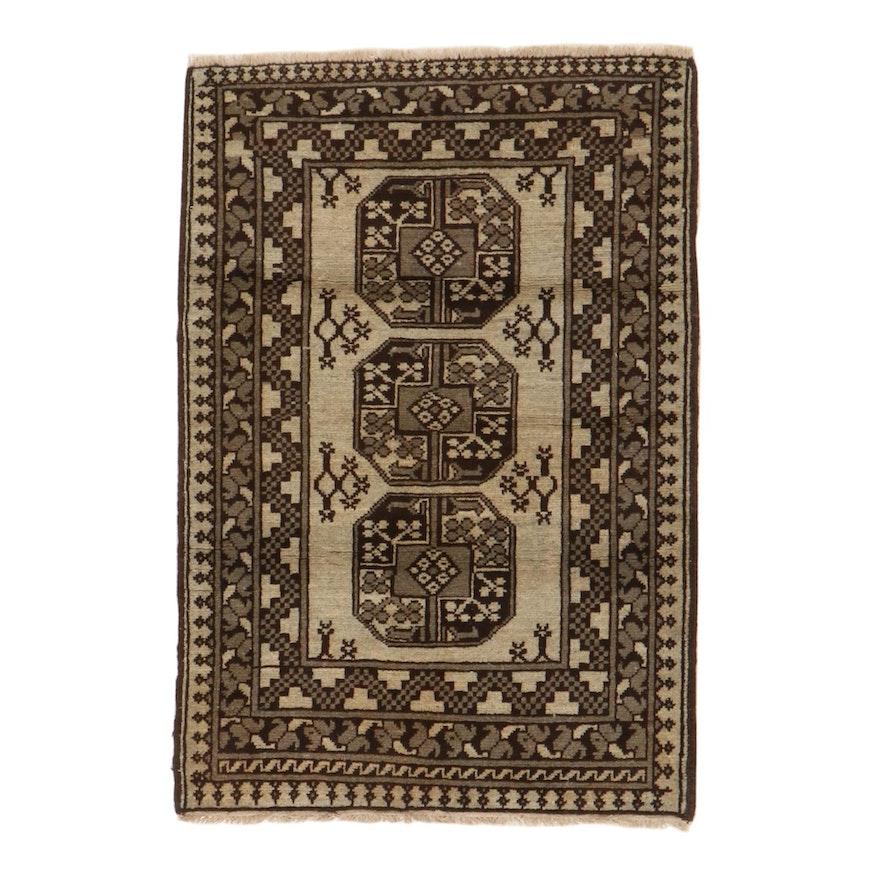 2'11 x 4'4 Hand-Knotted Afghan Turkmen Accent Rug