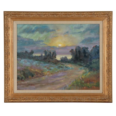 Impressionist Style Sunset Landscape Oil Painting, Late 20th Century