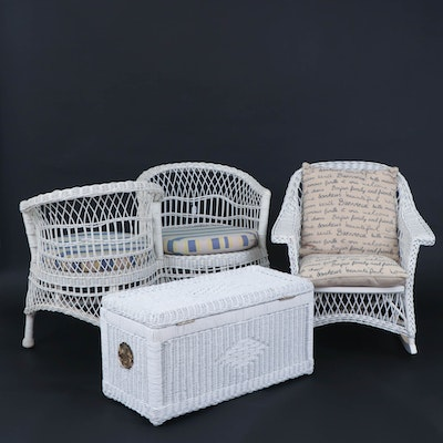 White Wicker Conversation Seat, Rocking Chair and Storage Chest