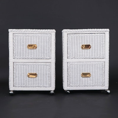 White Wicker Nightstands/Filing Cabinets