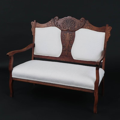 Victorian Style Carved Walnut Double-Back Settee, Late 19th Century