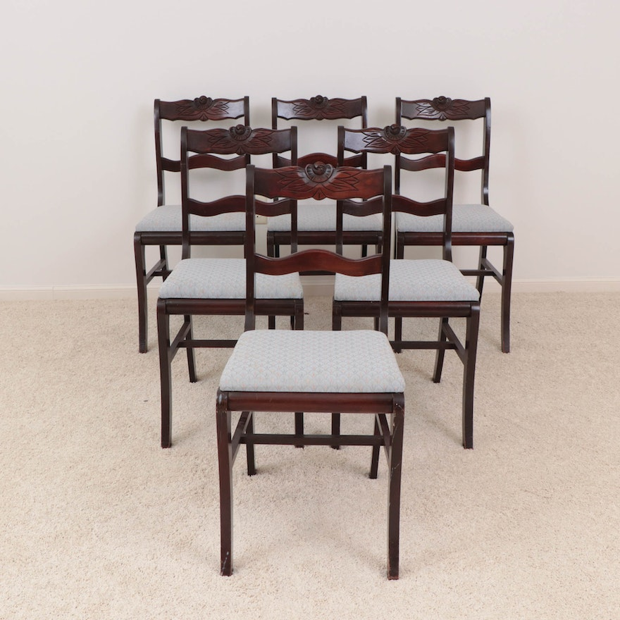 Six Duncan Phyfe Style Mahogany Carved Floral Accent Dining Chairs